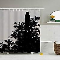 自然植物動物シルエット幅180*180CM高 プリント お風呂シャワーカーテン プラス厚 浴室 洗面所等間仕切り 目隠し用