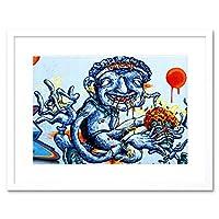 Graffiti Weird Guy Eating Framed Wall Art Print 落書き奇妙な壁