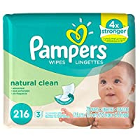 Pampers Baby Wipes Natural Clean (Unscented) 3X Refill, 216 Count by Pampers