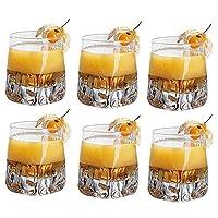 6個肥厚クリスタルガラスウィスキーカッププレミアム11オンスクリスタルウィスキーグラスロックスタイルスコットランドの試飲タンブラーバーボンとカクテルドリンク