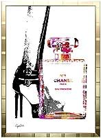 アートショップ フォームス ブランドオマージュアート/クレイグ・ガルシア「シャネル/ヒールズ&ボトルc」ポスター (ゴールド)