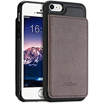 0bdc2270d7 ProCase iPhone SE / 5S ケース スリム キックスタンド フリップ革製バック 財布型ケース スマートカバー バンパー バックカバー  カードスロット Apple iPhone SE 5S ...