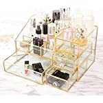 KUSO Antique Spacious Mirror Glass Cosmetic Storage Cube Set with 3 Tier Dustproof Drawers Vanity Tray/Gold Metal Makeup...