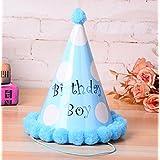 HuaQingPiJu-JP 誕生日パーティー用品大きな白いドットのコーンの帽子小さな柔らかいボールCap_Blue