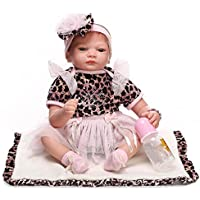 Dollshow Lifelikeシリコン新生児赤ちゃんAwake幼児ガールReborn人形モヘアRooted Nursery小道具おもちゃ22インチ55 cm