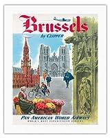 クリッパーによってブリュッセル、ベルギー - パンアメリカン航空 - サン・ミッシェル大聖堂, サンGudulの大聖堂 - ビンテージな航空会社のポスター c.1951 - キャンバスアート - 51cm x 66cm キャンバスアート(ロール)