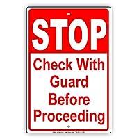 なまけ者雑貨屋 Stop Check with Guard Before Proceeding Safety 金属スズヴィンテージ安全標識警告サインディスプレイボードスズサインポスター看板