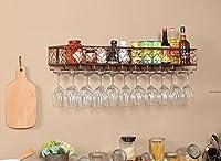 ワインラック ワインラック、キッチンの壁掛けワインラックハンギングカップホルダーガラスカップホルダーをぶら下げクリエイティブワインラックメタルワインラック カップホルダー (色 : B, サイズ さいず : L100*W25CM)