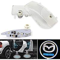 Alichee 2個 LED車のドアのロゴゴーストシャドウプロジェクターレーザー歓迎ライトシンボル徽章の礼儀ステップライト地上ランプキット (マツダ Mazda)