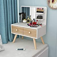SHPING ドレッサー ドレッシングテーブル、木製の脚、滑り止め/防水、出窓の化粧台、寝室のシングルミニ化粧台、多機能、強力な耐荷重。 化粧台 (Color : A, Size : 70×40CM)