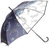 (スーパーハッカ) SUPER HAKKA リース ブーケ プリント 傘 04000280 F ネイビー 紺 透明 花柄 鳥