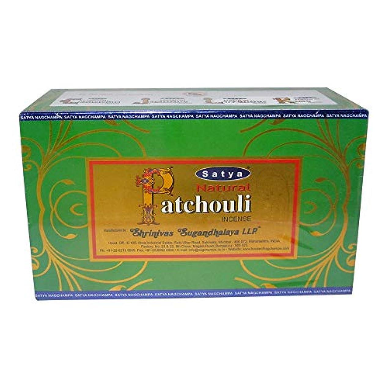 自然Patchouli Incense Sticks – By Satya Nag Champa – パックof 15 g x 12ボックス – 180 g合計