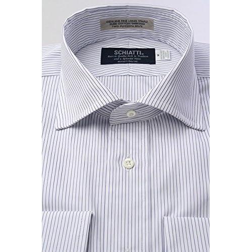 (スキャッティ) SCHIATTI 白地 ネイビー系 ピンストライプ 80番手双糸 ワイドカラー ドレスシャツ wd3392-3983