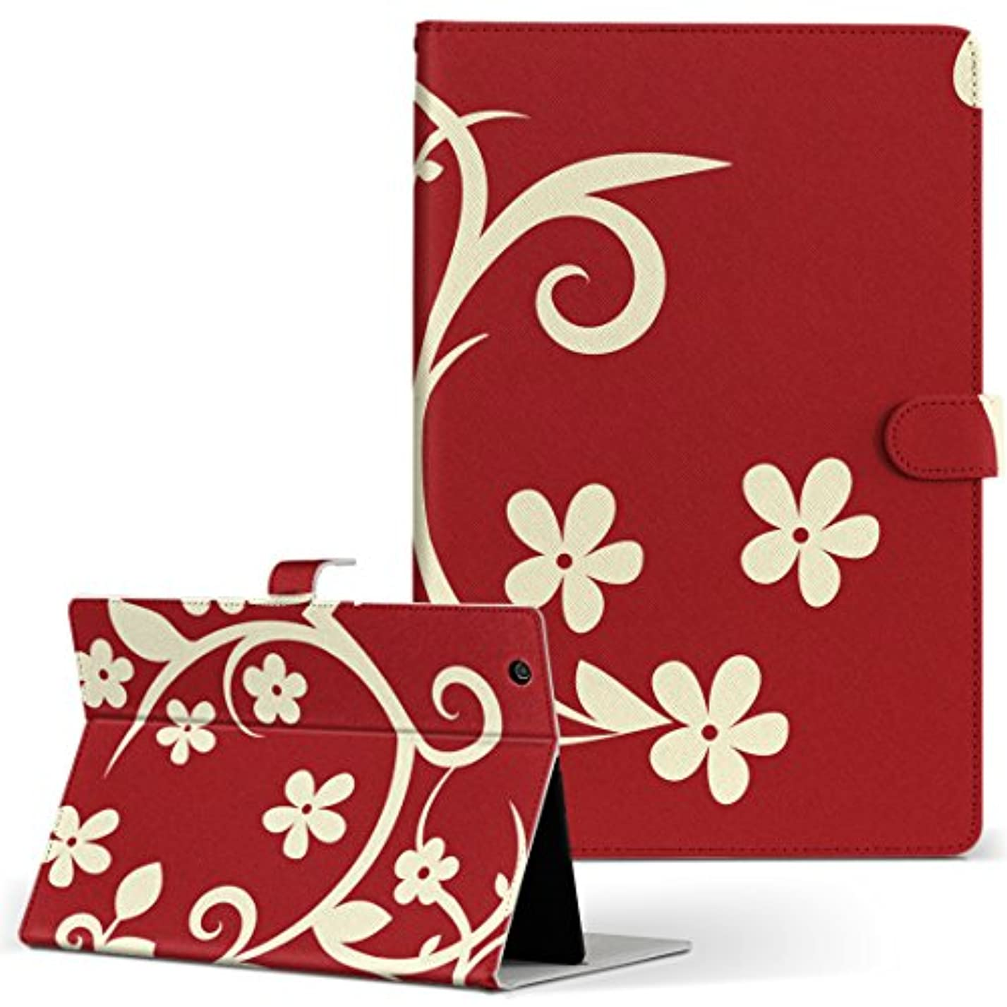 信じる教える大きさigcase d-01K Huawei ファーウェイ dtab ディータブ タブレット 手帳型 タブレットケース タブレットカバー カバー レザー ケース 手帳タイプ フリップ ダイアリー 二つ折り 直接貼り付けタイプ 003915 フラワー 花 フラワー 赤
