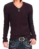 (トップイズム) TopIsm メンズ ニット メンズ通販 セーター Vネック 杢調リブニット タイト メンズ服 メンズ
