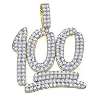 Saris and Things イエロートーン 925スターリングシルバー メンズ キュービックジルコニア キュービックジルコニア 数字 100チャームペンダント