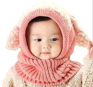 【POSITIVE】かわいい ひつじちゃんの ニット帽 ベビー & キッズ ふわふわ あったか 羊 の 着ぐるみ 風 こども 用 帽子 防寒 ネックウォーマー 耳あて コスプレ (ピンク)