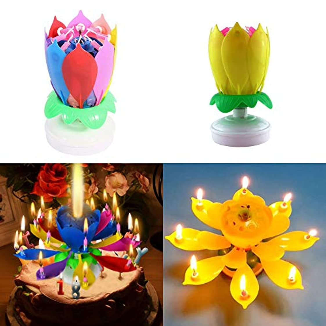 民間折吸収Homuner 誕生日キャンドル,2つの層 14 キャンドル 蓮の形状 360度自動回転 音楽キャンドル, 誕生日の歌を弾く,