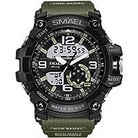 SMAEL Brand Men Watch Dual Time Camouflage Military Watch Digital Watch LED Wristwatch 50M Waterproof Men Clock Sport Watch