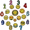 【Wdlife】 ワッペン アップリケ アイロンワッペン 刺繍ワッペン Emoji スマイリーフェイス 笑顔と数字 かわいいスマイルマーク 刺繍 アップリケ ワッペン アイロンパッチ DIY 【23枚セット】