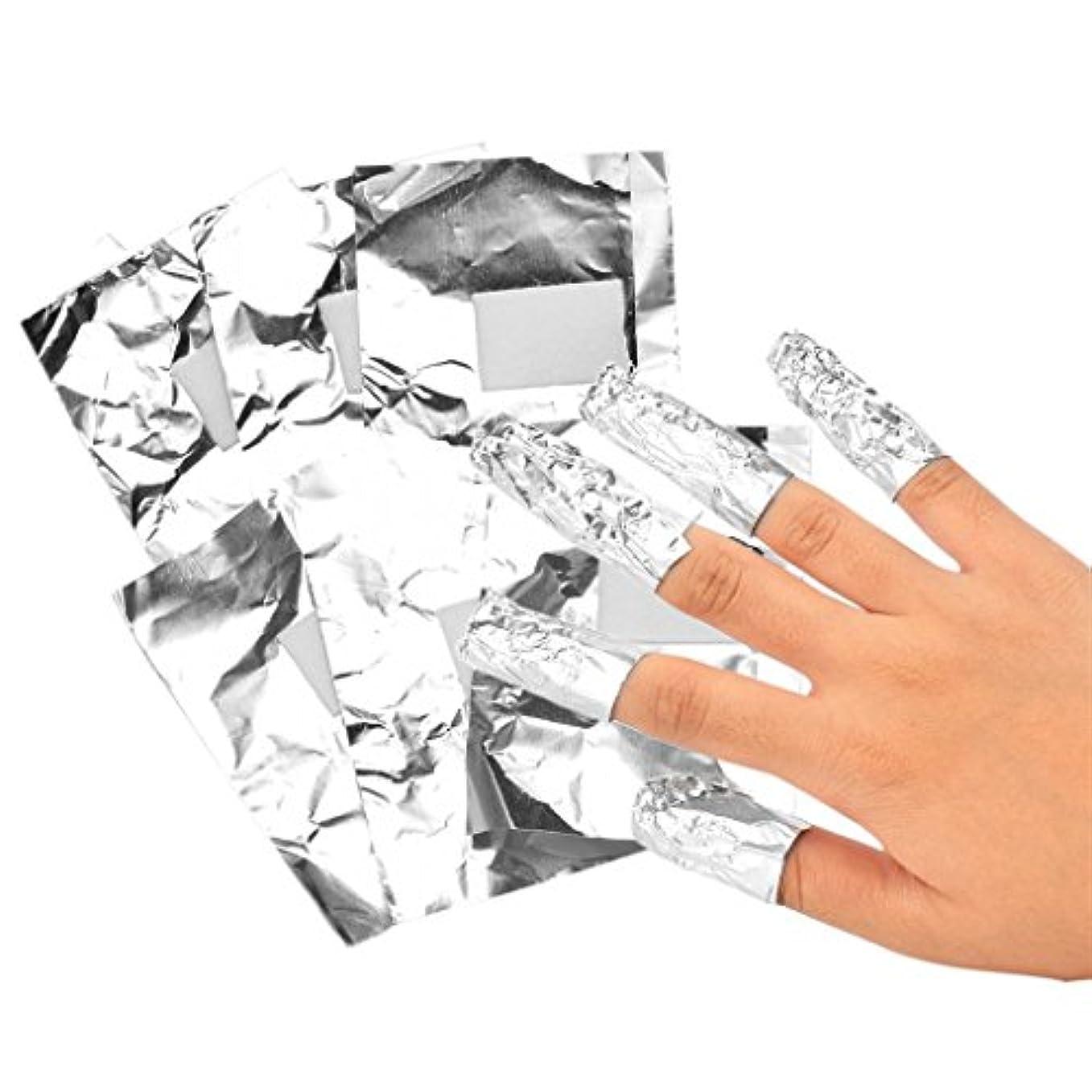 壮大な注意免除ネイルフォイル アルミ箔 ネイルアートジェル除去ツール プロ 爪装飾除き 包み紙 約100本入り