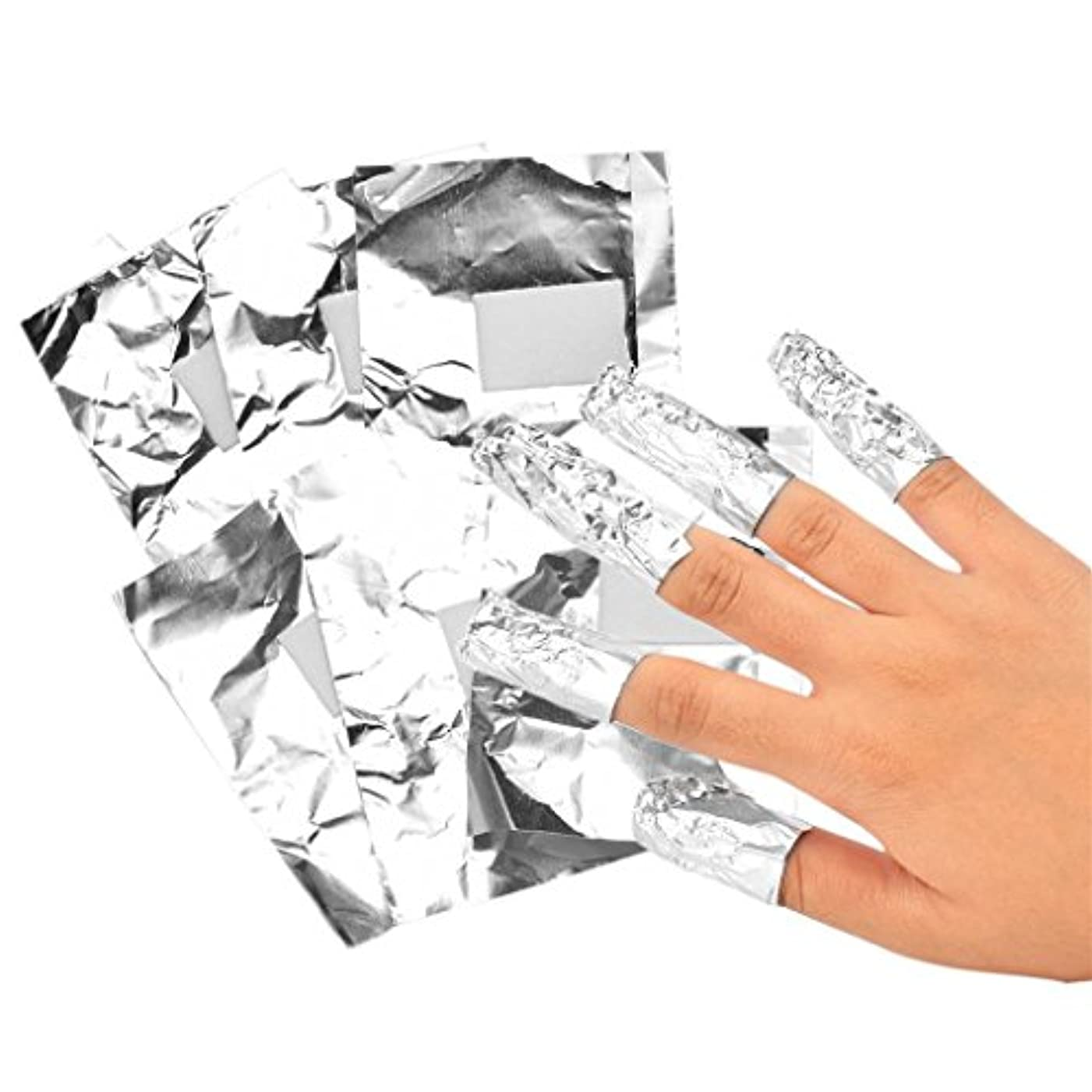 百ファシズム受けるネイルフォイル アルミ箔 ネイルアートジェル除去ツール プロ 爪装飾除き 包み紙 約100本入り