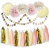 ピンク パーティー 飾り付け ベビーシャワー 誕生日 結婚式 可愛い 女の子 タッセル ガーランド ペーパーフラワー 紙ポンポン 9枚セット