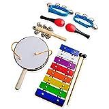NASUM 木琴 楽器 打楽器 おもちゃ 可愛い 木製 ブルーハンドベル マラカス 2マレット付き 誕生日 出産祝い 1歳以上 知育玩具