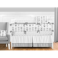 Sweet Jojo Designs 9-Piece Grey and White Woodland Arrow Boy Girl Unisex Baby Crib Bedding Set with Bumper s [並行輸入品]
