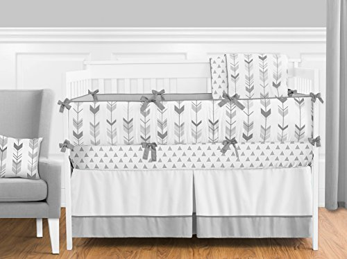 Sweet Jojo Designs 9-Piece Grey and White Woodland Arrow Boy, Girl, Unisex Baby Crib Bedding Set with Bumper s
