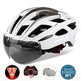 Shinmax自転車ヘルメット, LEDライト付きサイクルヘルメット 安全ライト付き自転車ヘルメット ゴーグル超軽量高剛性自転車ヘルメット ロードバイクヘルメット アダルト自転車ヘルメット 取り外し可能なシールドサンバイザー付き 57-61cm男女兼用
