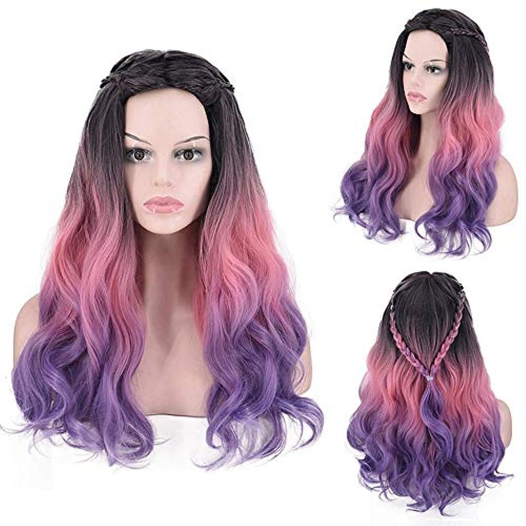 木製本物繰り返すHOHYLLYA 長い巻き毛のかつら紫色の人工毛ウィッグ毎日のかつらコスプレ衣装ハロウィンドレス女性の合成かつらレースかつらロールプレイングかつら (色 : Photo Color)