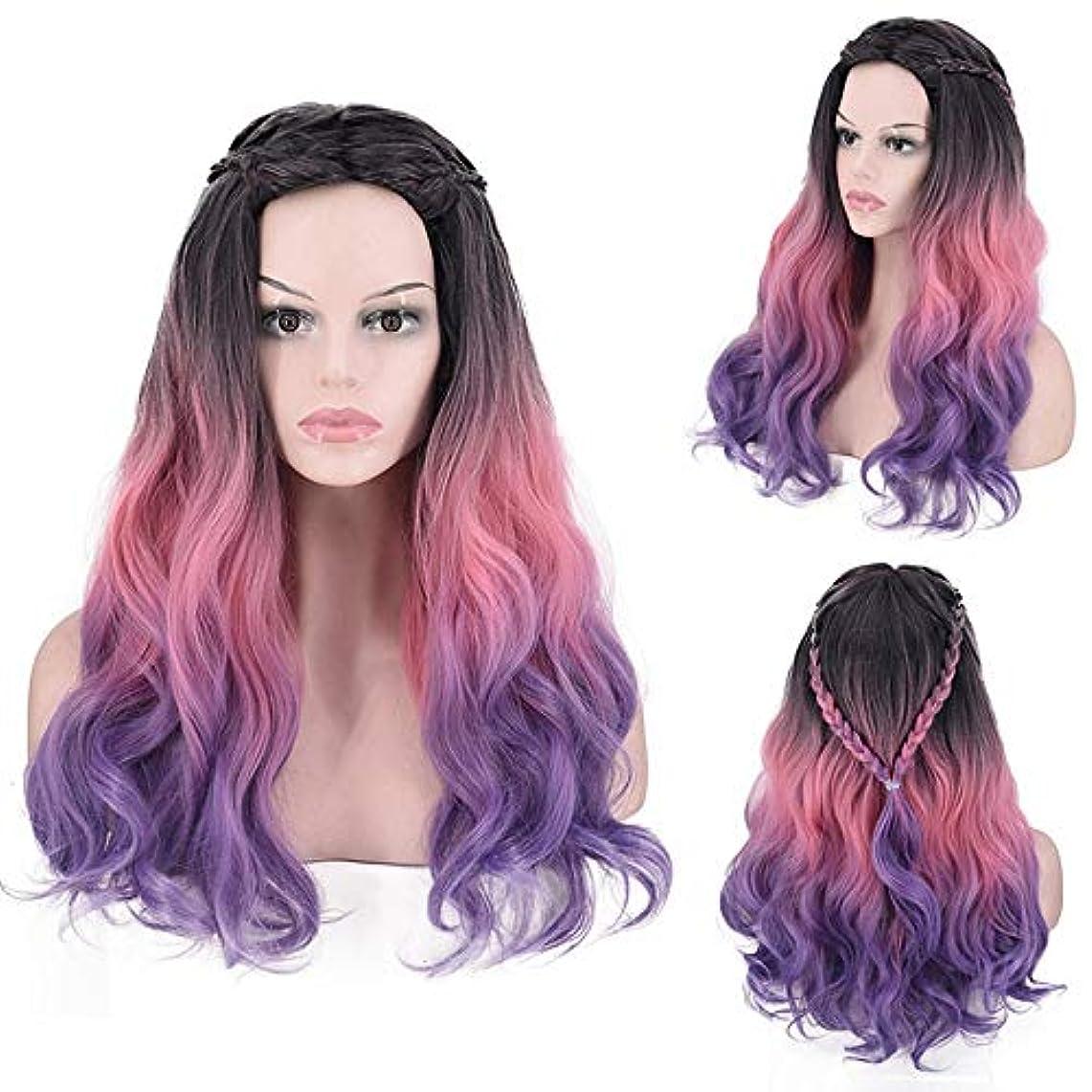 位置するナンセンス誕生HOHYLLYA 長い巻き毛のかつら紫色の人工毛ウィッグ毎日のかつらコスプレ衣装ハロウィンドレス女性の合成かつらレースかつらロールプレイングかつら (色 : Photo Color)