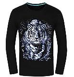 (ペプ) PEPU 3D 立体 プリント アニマル カジュアル Tシャツ メンズ 長袖 トップス カットソー 動物 (03 虎 M)
