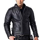 レザージャケット ライダースジャケット 革ジャン メンズ 本革パッド付 シングルライダース バイク