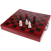 SONONIA ヴィンテージ チェスゲーム 木製 折りたたみ チェスボード 樹脂 テラコッタの戦士 チェスピース セット 工芸品