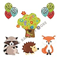 THE ULTIMATE 10pc Woodland Creatures Baby Shower / Birthday Balloon Decoration by Qualatex