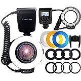 FOSITAN リングフラッシュ LED 48球 マクロリングライト 接写専用ストロボ 4種類ディフューザーと8種類交換リング付き Canon、Nikonに対応