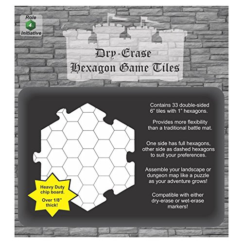 Dry Erase Hexagon Game Tiles - Pack of 33 Six Inch Tiles