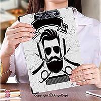 印刷者 クリップボード 用箋挟 クロス貼 A4 短辺とじ 答案用紙入れ理髪店ビンテージポスター、バナー、ラベル、バッジ、または灰色の背景のベクトル図のエンブレム (2個)
