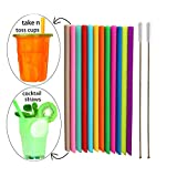 Tegion Short Replacement Reusable Toddlers& Kids Silicone Straws for The First Years Take & Toss Spill Proof Straw Cup and YETI RTIC Lowball Tumbler, Cocktail Straws 14 Pack