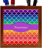 Rikki Knight Suzana Name on Rainbow Scallop Design 5-Inch Tile Wooden Tile Pen Holder (RK-PH45837) [並行輸入品]