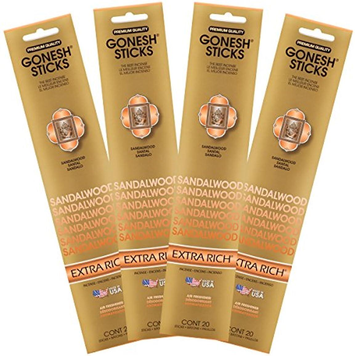 まつげキャメル債権者(Set of Four 20-Stick Packs) - Sandalwood - 4 PACK- Extra Rich Incense by GONESH