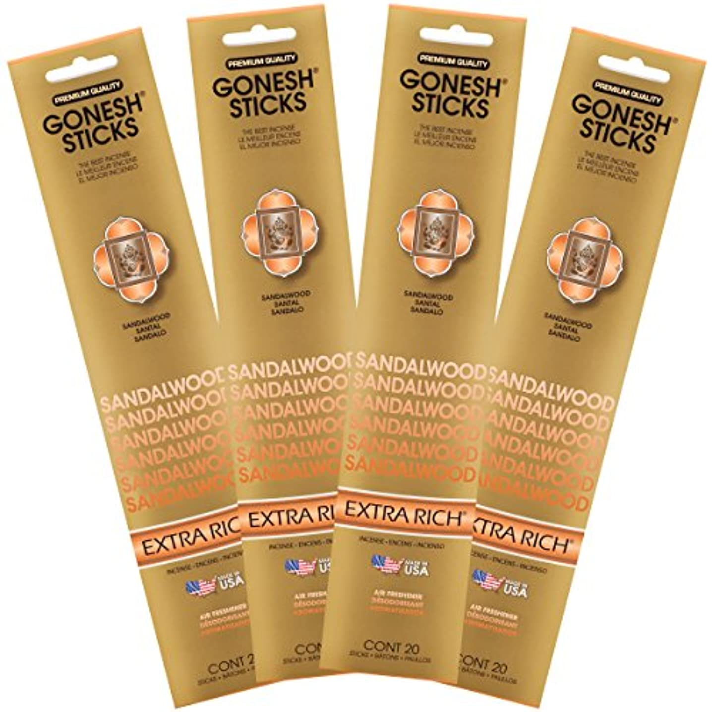 使役大無視できる(Set of Four 20-Stick Packs) - Sandalwood - 4 PACK- Extra Rich Incense by GONESH