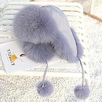帽子女性秋の冬の韓国フォックスは、雷鋒帽子潮毛皮帽子スリムなスキー帽子に毛皮を付ける グレー B