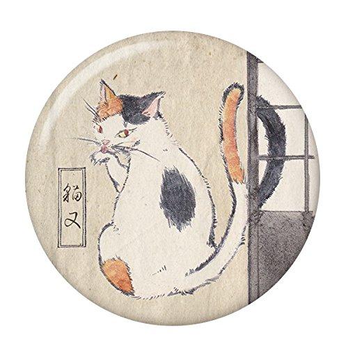 妖怪缶バッジ 【猫又・ミニブック付き】 特大サイズ(76mm) ミラー(鏡)タイプ