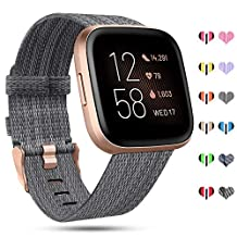 RIOROO Compatible with Fitbit Versa Bands/Versa 2/Versa Lite Strap for Women Men,Versa Accessories Breathable Woven Fabric Sport Straps,Adjustable Replacement Wristbands for Fitbit Versa Smart Watch