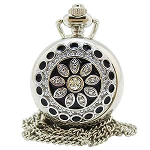 [モノジー] MONOZY ネックレス 時計 - 花宝石 フルハンター - 鏡付き ペンダント ウォッチ アンティーク 懐中時計 収納袋 おしゃれ ふた付き ネックレス時計 (ブラック)