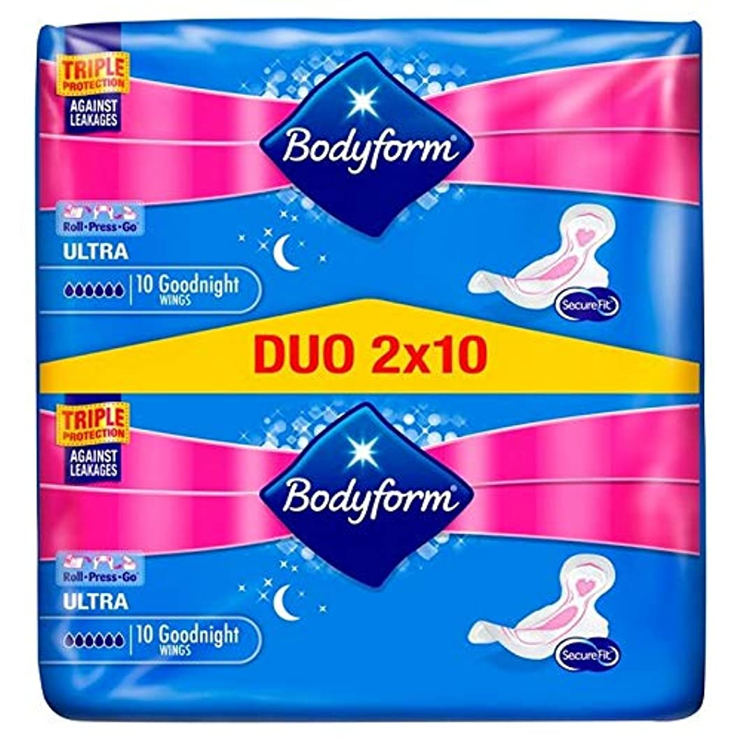 バッジ宅配便真向こう[Bodyform] パックあたりBodyform超夜の翼デュオパック20 - Bodyform Ultra Night Wing Duo Pack 20 per pack [並行輸入品]