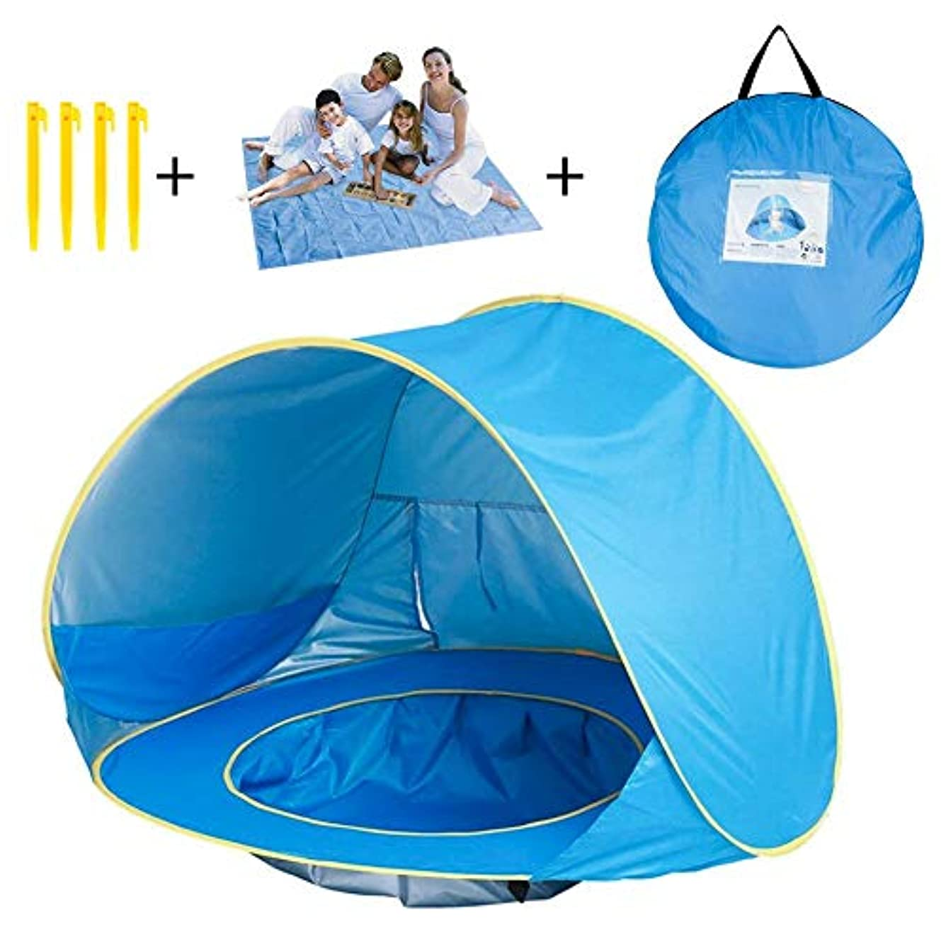 こんにちは先駆者落とし穴DX DA XIN Baby Beach Tent, Pop Up Baby Sun Shelter with Pool Shade UV Protection Baby Pool Tent with Beach Blanket Sand Free [並行輸入品]